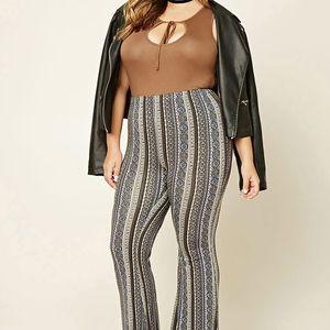 Plus Size Ornate Print Pants